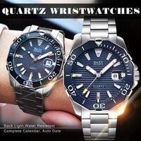 Relógios de negócios masculinos luxo azul aço inoxidável à prova dwaterproof água relógio de pulso de quartzo luminoso