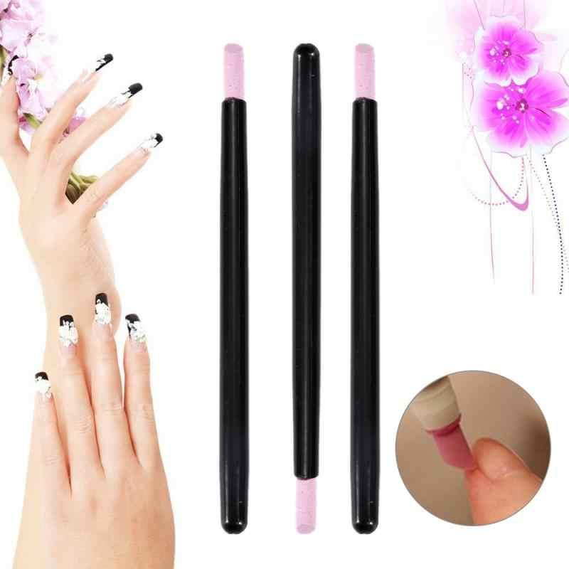 1Pcs แบบพกพาทำเล็บมือปากกา Cuticle Care สครับ Remover Stick เล็บอุปกรณ์เสริมเล็บเครื่องมือขัด
