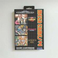 메가 게임 2 Shinobi Streets of Rage 골든 액스 EUR Cover With Box Sega Megadrive Genesis 게임 콘솔 용 16 비트 MD 게임 카드