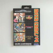 Mega Games 2 Shinobi Streets of Rage Golden Axe   EUR Cover With Box 16 Bit MD Game Card for Sega Megadrive Genesis Game Console