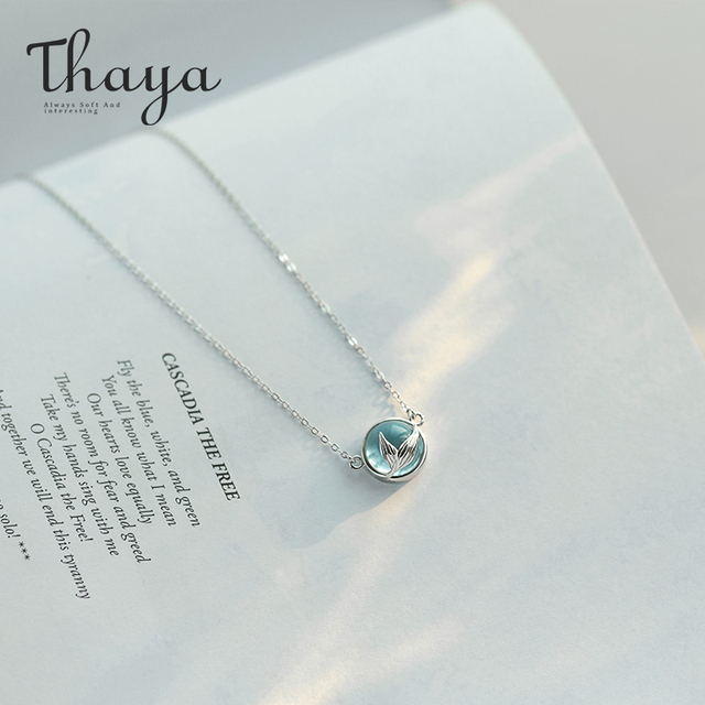 Thaya Mermaid Foam Bubble Design Crystal Necklace s925 silver Mermaid Tail Blue Pendant Necklace for Women Elegant Jewelry Gift 2