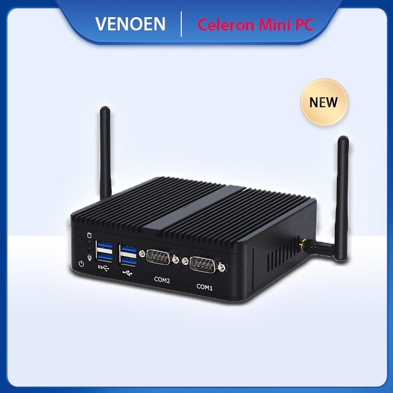 VENOEN sin ventilador de escritorio Intel Celeron computadora J4105 doble pantalla Mini PC HTPC cliente Delgado 2 * RS232 HDMI VGA DDR4 Wifi