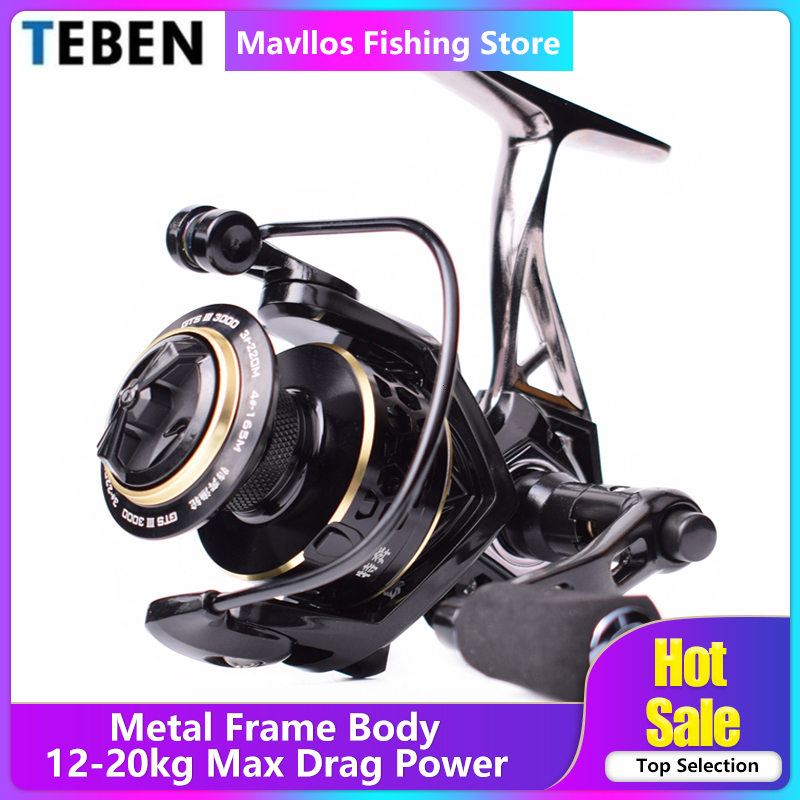 TEBEN GTS III Saltwater Metal Fishing Reel 3000 6000 Left Right Hand Max Drag 12-20kg Surf Fishing Spinning Reel Freshwater Coil