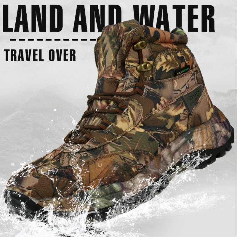 CUNGEL Tactical Military Combat Hiking Boots Waterproof Hiking Shoes Men Boots Leather Shoes Hunting Boots Sport Travel Shoes