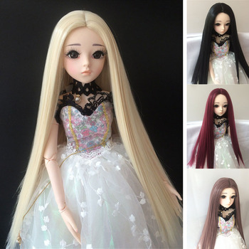 BJD sd long straight hair 1/3 1/4 1/6 1/8 high temperature fiber hair black doll wig multi-color doll accessories doll accessories 1 3 1 4 1 6 bjd wig doll hair lon straight girl wig multicolour available high wire faux fur wig fb12