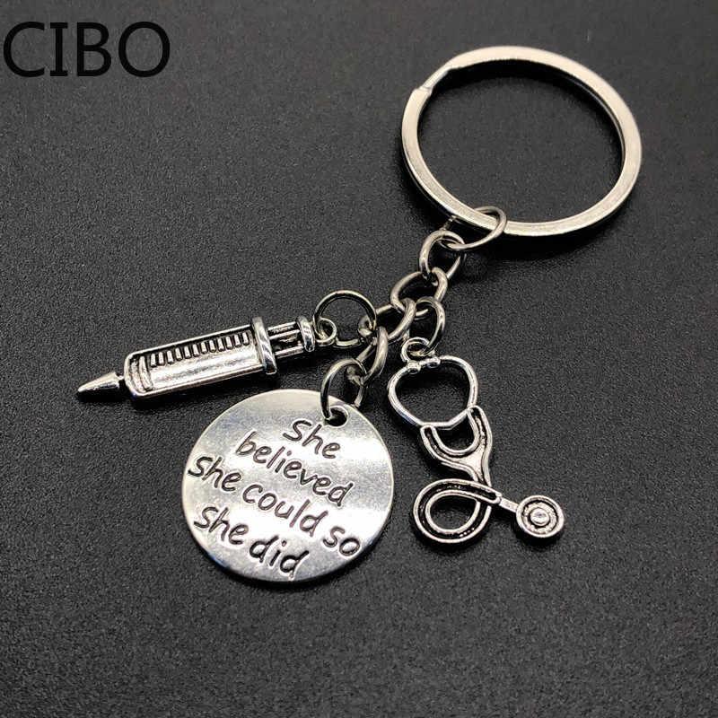 2019 nouveau bijoux docteur outils médicaux stéthoscope seringue pendentifs porte-clés infirmière étudiants en médecine cadeaux porte-clés llaveros