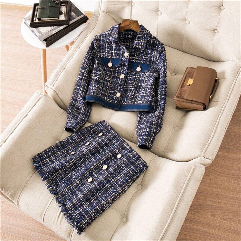 2019 Autumn New Fashion Tweed Double Breasted Women 2 Piece Suit Blue Turn Down Collar Short Coat+Tassel Slim Mini Skirt Female