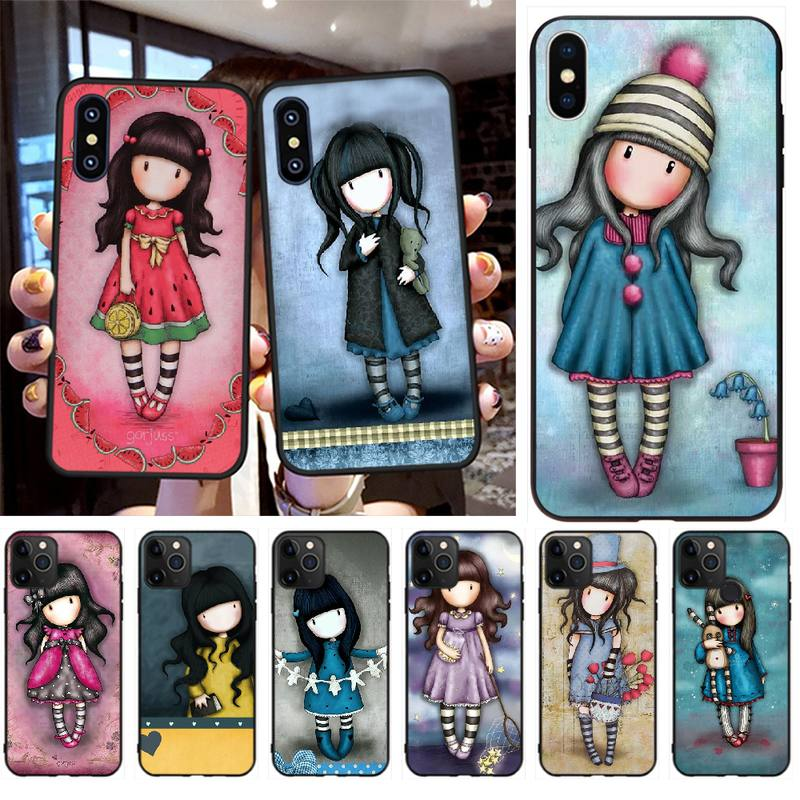 PENGHUWAN Cartoon Lovely Santoro Gorjuss Black Soft Shell Phone Case Capa for iPhone 11 pro XS MAX 8 7 6 6S Plus X 5S SE XR case(China)