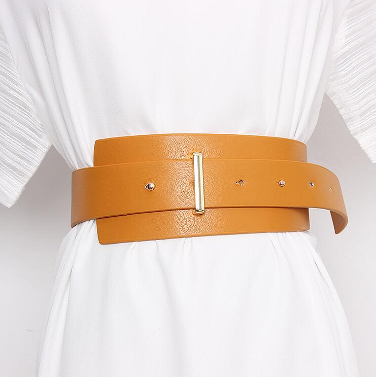 Women's Runway Fashion PU Leather Cummerbunds Female Dress Corsets Waistband Belts Decoration Wide Belt R2332