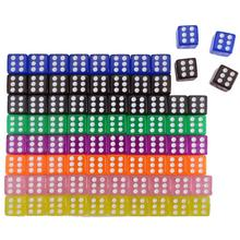 10pcs Colorful Clear Straight Corner Dice 16mm Acrylic Transparent Drinking Dices Playing Table Game Entertainment