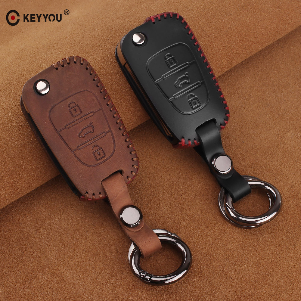KEYYOU Leather Car Key Case Cover For Hyundai I20 I30 I40 IX25 Creta IX35 HB20 Solaris Elantra Accent For Kia K2 K5 Rio Sportage