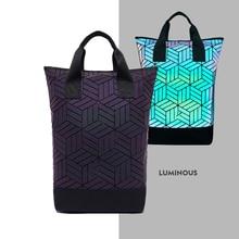 Fashion Luminous Geometric Roll Top Ergonomic Backpack Woman Mochila Escolar Holographic Lady Bag