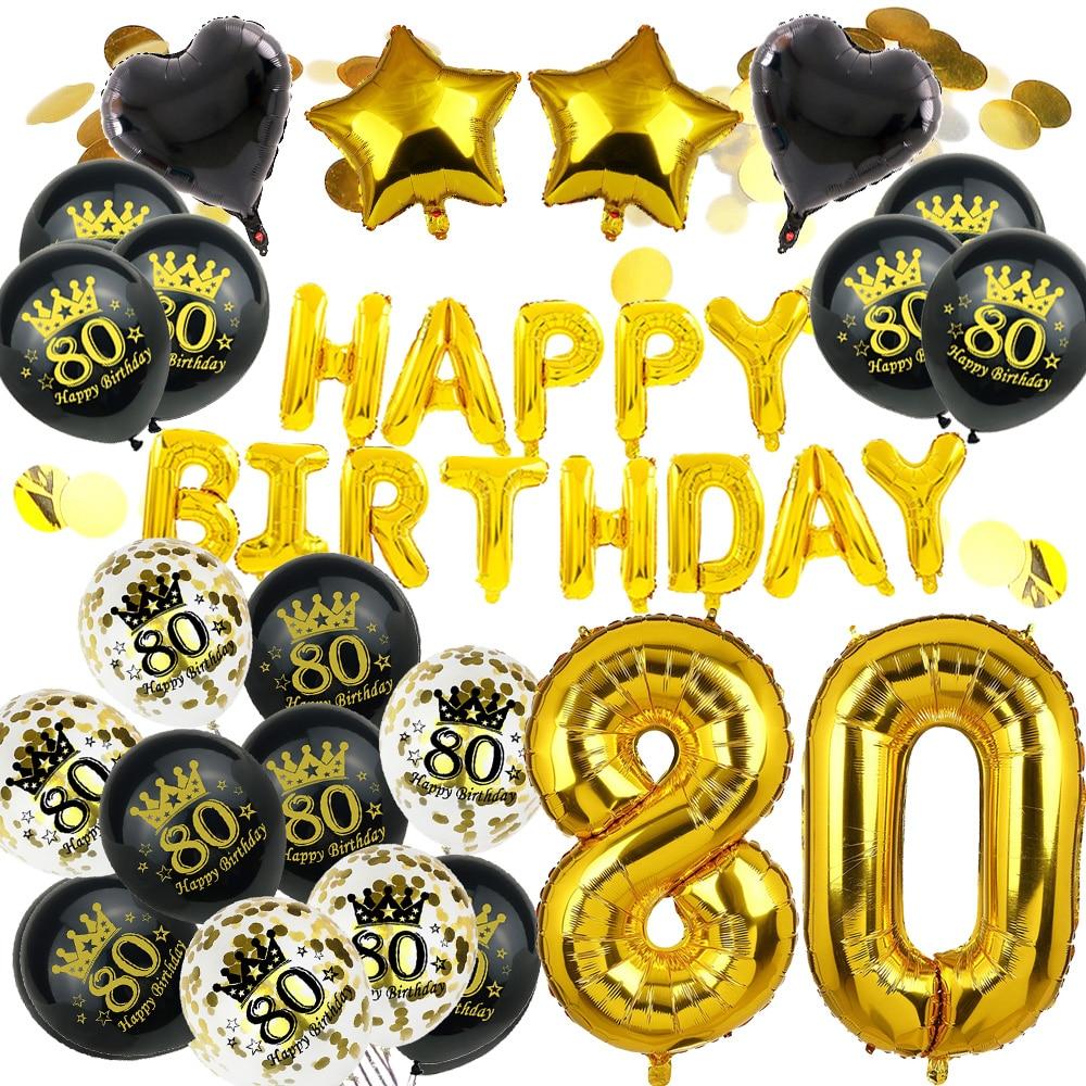 Amawill 80th воздушные шары для украшения дня рождения Kit, розовое золото, 80 лет, поставки для вечеринок, номер 80, мужчина, женщина, декор на день ро...