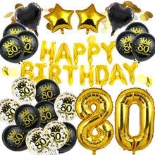 Amwill 80th aniversário decoração balões kit ouro rosa 80 anos de idade suprimentos de festa número 80 homem mulher feliz aniversário decoração