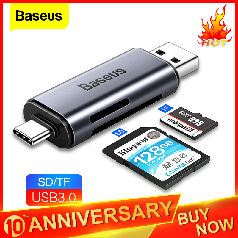 Baseus Card Reader USB 3.0 2 In 1 SD/TF Card For PC Computer Laptop Mobile Phone OTG Smart Memory Type C Card Reader Adapter