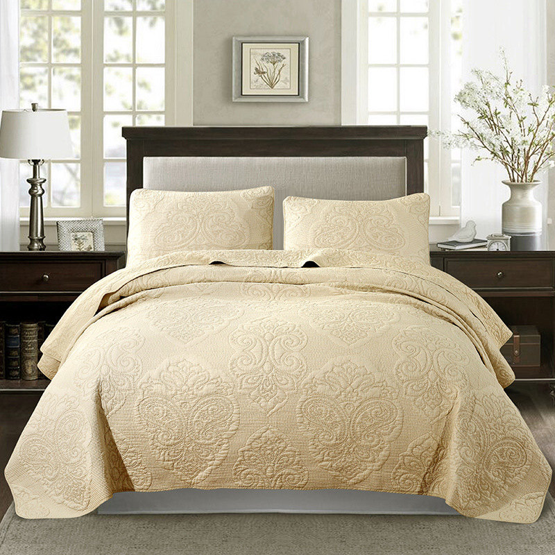 Plain Beige Embroidered Quilted Bedspread For Bed King Queen Double Bed Cover Summer Quilt Set 100% Cotton Bed Linen 3-piece