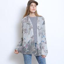 Женский длинный вязаный кардиган свободный свитер с принтом