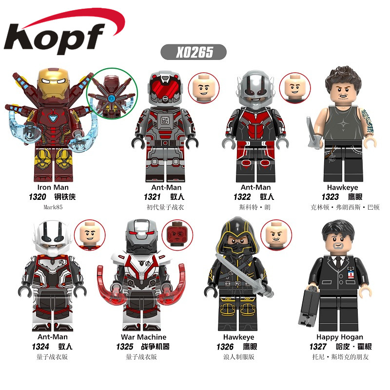 Building Block Plastic Super Heroes Movie 4 Ant-Man Iron Man Hawkeye War Machine Happy Hogan Figures For Children Toy X0265