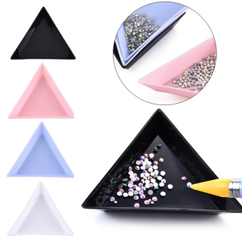 Triangle Plastic Rhinestone Nail Art Storage Box Plate Tray Holder Container Jewelry Glitter Cup DIY Decoration Dotting Tool Dotting Tools