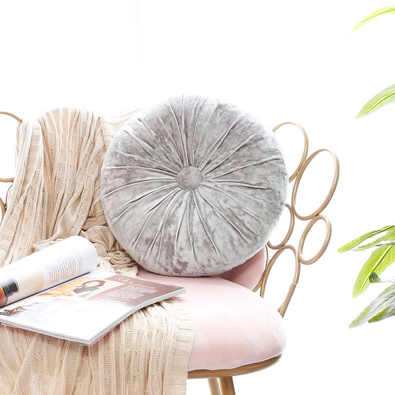 Pumpkin Round Chair Back Cushion Booster Seat Pad Pillow Velvet Massage Couch Office Back-rest Cushions