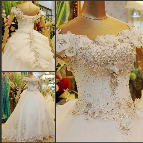 Free Shipping 2016 New Design Fashion Big Bride Long Custommade Size/color White/ivory Ball Gown Beading Crystal Wedding Dresses