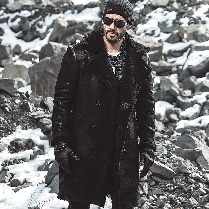 Burst Mens Genuine Leather Coat Long Original Leather Windbreaker Original Ecological Fur Winter Jacket Men Warm Leather Coats