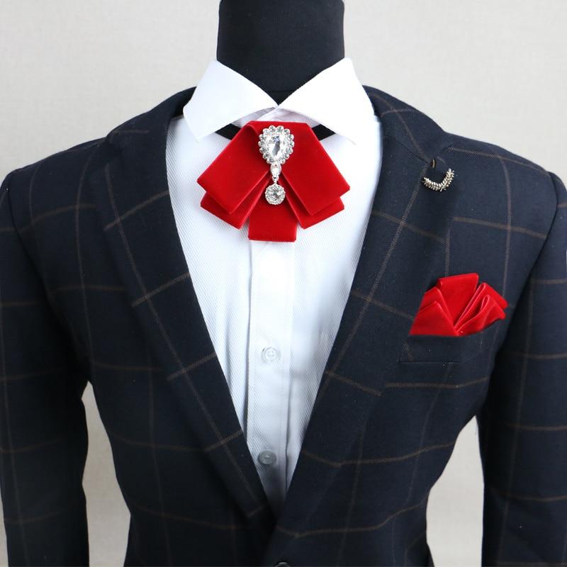 New Fashion Men's Wedding Rhinestone Velvet Bowtie Groomsman Retro Gentleman British Bow Tie Gifts For Men Pocket Square Sets