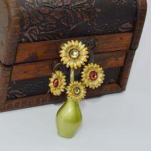 Fashion Women Sunflower Brooches Van Gogh sunflower Green Paint Rhinestones Crystal Wedding Brooch Pin Jewelry Accessorise