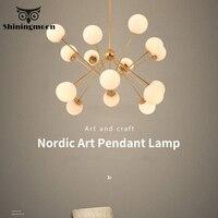 Nordic Personality Chandelier Postmodern Glass LED Chandelier Lighting Gold Luxury Art Restaurant Hanging Lamps Crystal Lustre