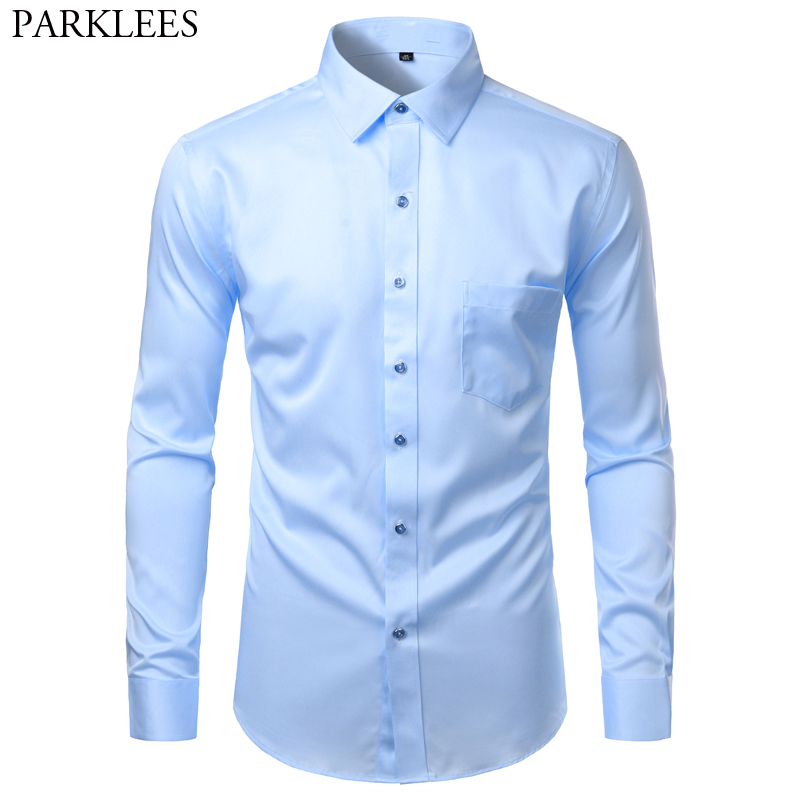 Sky Blue Men's Bamboo Fiber Dress Shirt 2020 Brand Slim Fit Casual Button Down Chemise Non Iron Easy Care Formal Shirt For Men