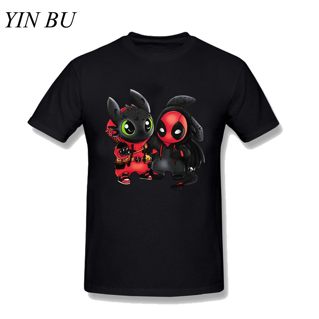 ChampionS Men's Deapool Stitch Toothless Marvel Superhero T-shirt Black Men Cotton Funny Printed Tshirts Plus Size 3XL Guccy
