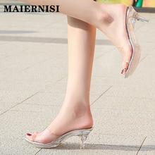 Crysta wysokie obcasy pantofle damskie buty 2021 letnie platformy Sexy przezroczyste poza slajdów Sexy sandały damskie duże rozmiary 41 tanie tanio MAIERNISI Wysoka (5 cm-8 cm) Wsuwane CN (pochodzenie) Lato Na zewnątrz Szpilki RUBBER kapcie 0-3 cm Dobrze pasuje do rozmiaru wybierz swój normalny rozmiar