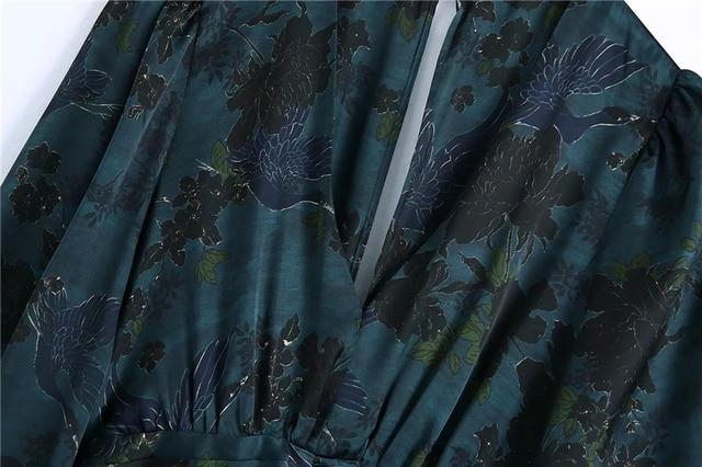 Qeils Women Chic Fashion With Draped Waist Print Mini Dress Casual Vintage V Neck Long Sleeve Female Dresses Vestidos Mujer 3