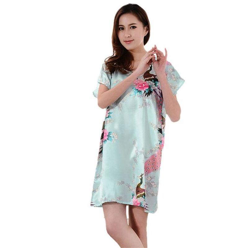 Hot Sale Women Faux Silk Robe Bath Gown Summer Lounge Dress Print Peacock Sleepwear Sexy Nightgown Flower