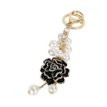 New Creative cloth Flower pearl Pendant small tassel Key holder Female bag Pendant key Chains flower car key ring Keychain(China)