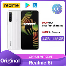 Realme 6i versão global 4gb ram 128gb rom smartphone mediatek helio g80 5000mah bateria 6.5
