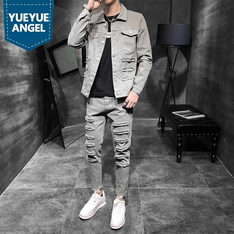 Fashion Mens Plus Size Casual Cargo 2Pcs Denim Sets Punk Hole Ripped Long Sleeve Single Breasted Jackets Ankle Length Slim Pants