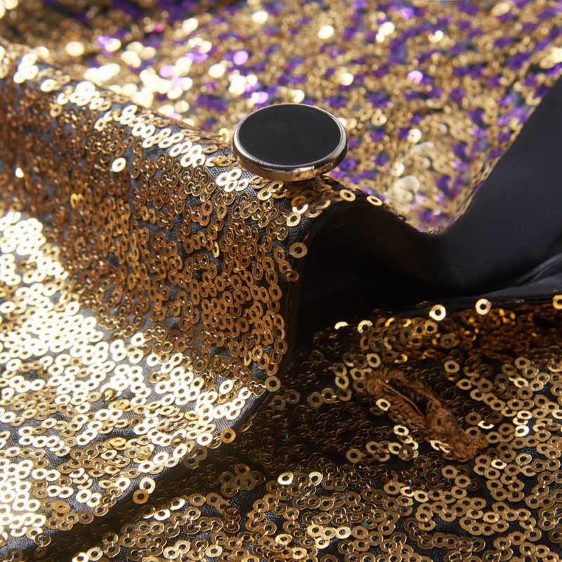 PYJTRL hombres elegante cambio Gradual oro púrpura azul Rosa verde lentejuelas traje chaqueta fiesta boda banquete club nocturno cantantes Blazer