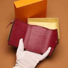 Porte-monnaie de luxe de styliste pour femmes, sac à cartes de crédit, sac à main pliable en cuir de bonne qualité avec boîte-cadeau et sac anti-poussière