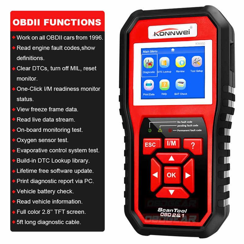 Năm 2019 Tốt Nhất OBD 2 Tự Động Quét OBD2 Máy Quét Konnwei KW850 Full ODB2 Máy Scan Hỗ Trợ Đa Ngôn Ngữ ODB 2 Tự Động máy Quét Chẩn Đoán
