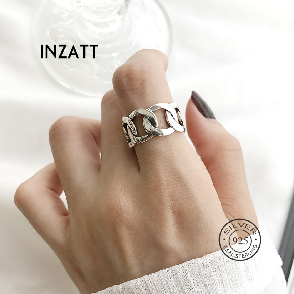 INZATT Real 925 Sterling Silver Chain Hollow Ring For Fashion Women Party Punk Fine Jewelry Minimalist Accessories 2019 Gift