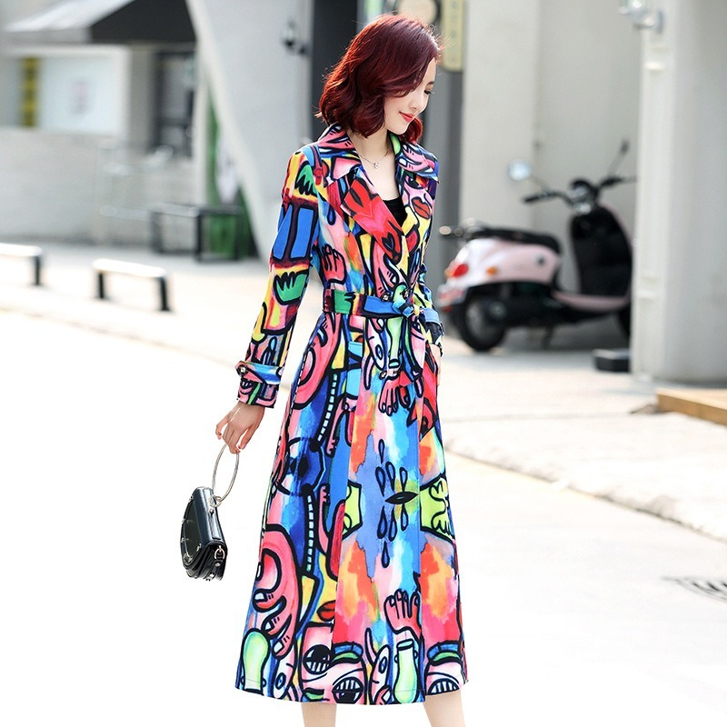 autumn women new   trench   coat plus size Slim fit fashion long overcoat trend printing cloth Turn-down Collar clothes 2019 -85