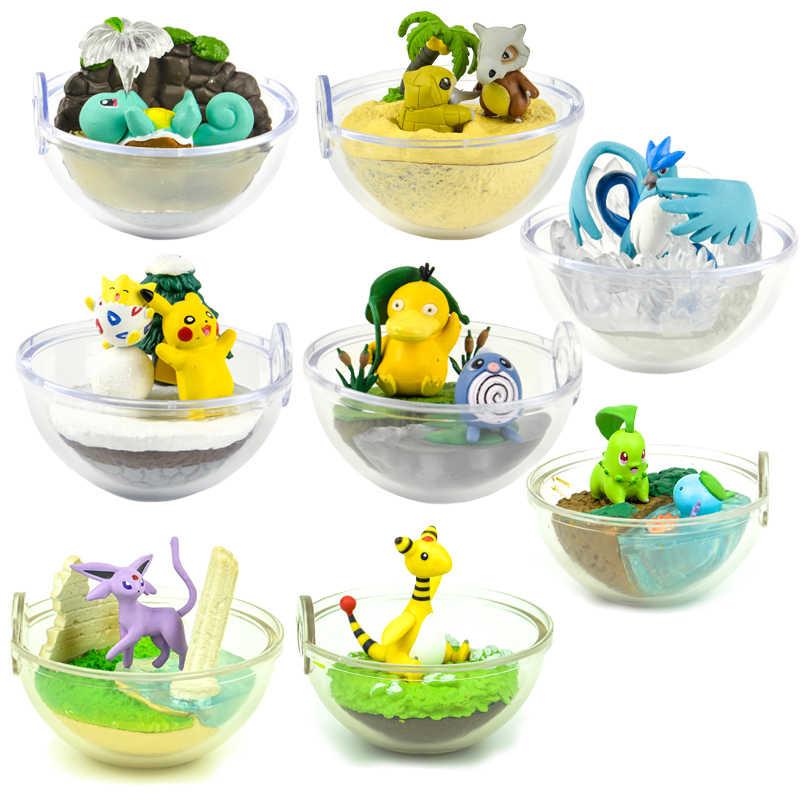 Japão brinquedos da cápsula Pokemon kawaii bonito Squirtle Psyduck pikachu Charizard Cubone Sandshrew Articuno cego caixa cena figuras em miniatura