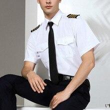 新着メンズ半袖白航空会社のパイロットの制服ヘアスタイリストのファッションスリムフィット黒作業服ビッグサイズ男性服