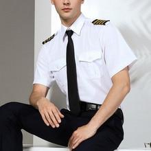 Neuheiten Herren Kurzarm Weiß Airline Pilot Uniformen Haar Stylist Mode Slim Fit Schwarz Workwear Große Größe Männliche Kleidung