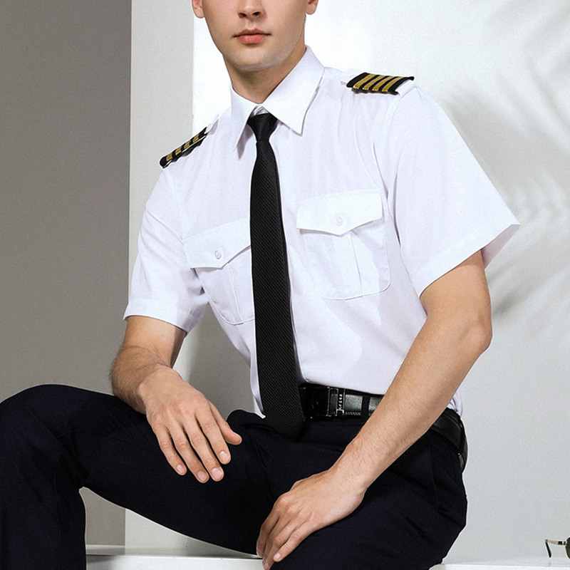 New Arrivals Mens Short Sleeve White Airline Pilot Uniforms Hair Stylist Fashion Slim Fit Black Workwear Big Size Male Clothing