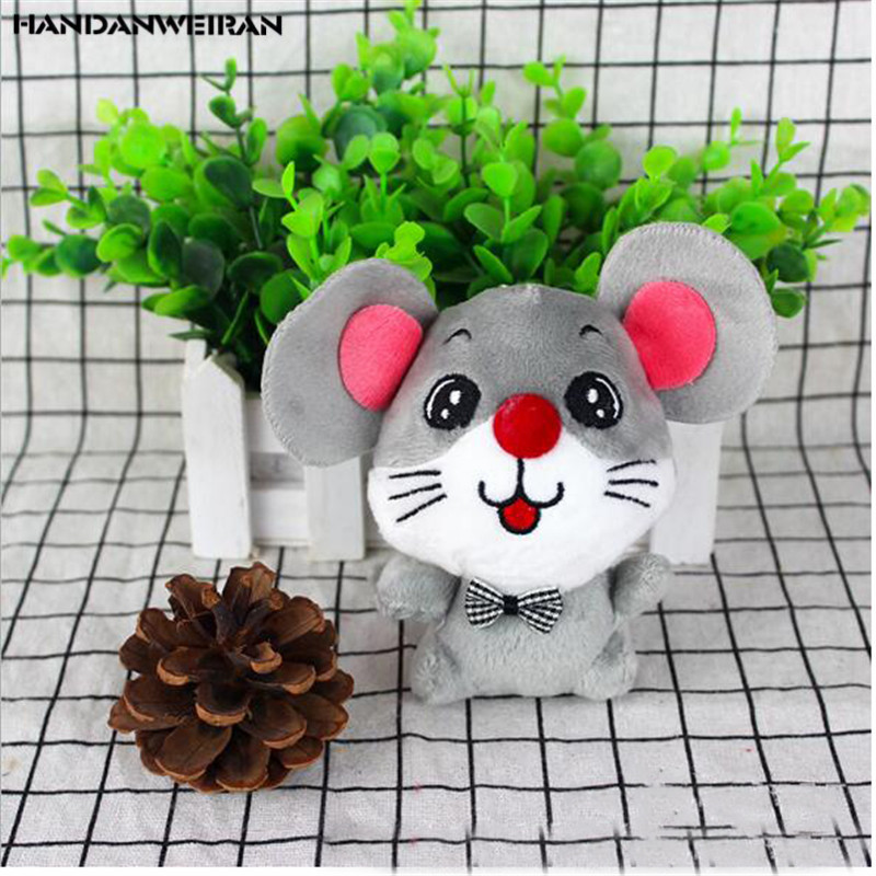 1 Pcs New 12CM Rat Year Mascot Cute Big-Eyed Bow Tie Cute Mouse Doll Pendant Holiday Gift For Girls&Boys&Chilids HANDANWEIRAN