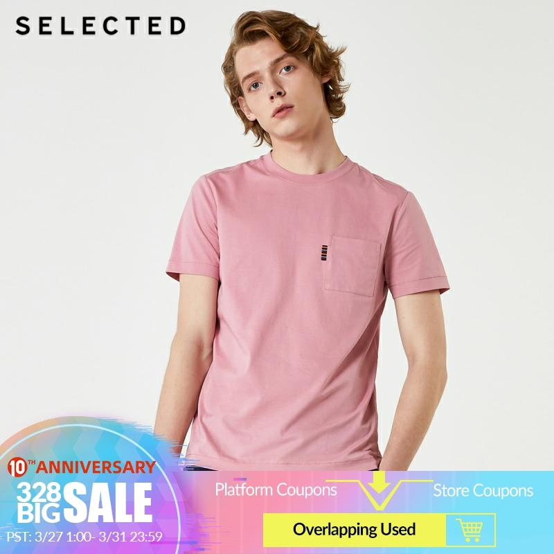 SELECTED Men's Summer 100% Cotton O-Neck Short-sleeved T-shirt S|419301523