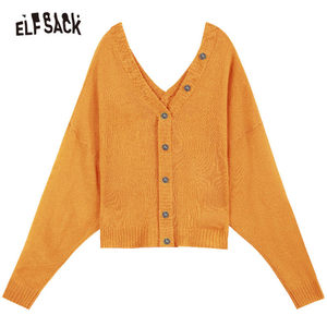 Image 5 - ELFSACK V Neck Button Solid Casual Oversized Sweater Women Knitted Top 2019 Autumn Korean Style Ladies Sweaters