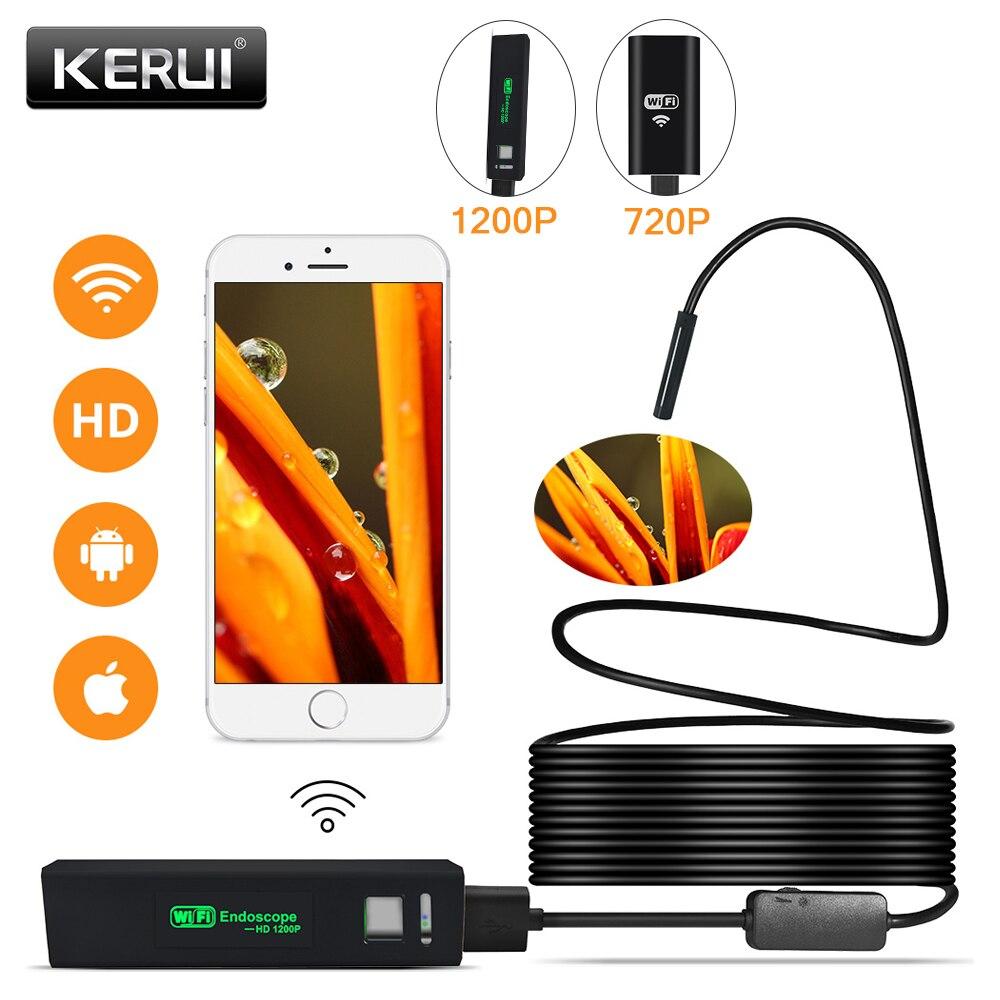 Kerui wifi endoscópio câmera mini impermeável cabo macio inspeção câmera 8mm 1 m usb endoscópio ios endoscópio para iphone